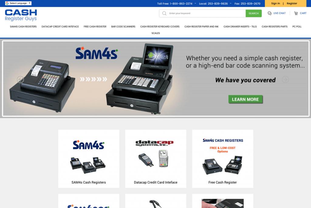 Website Design for Cash Register Company